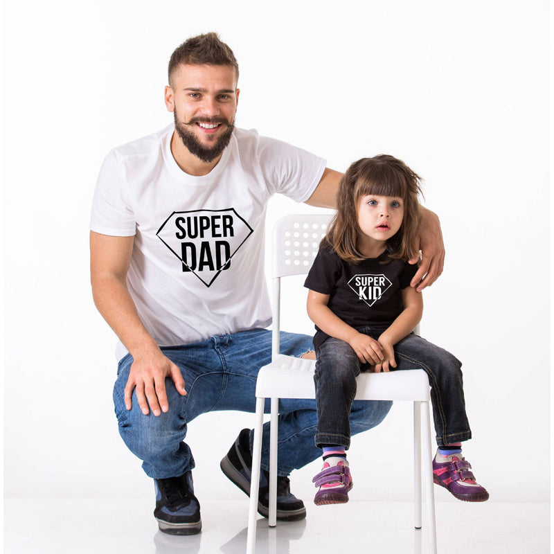cfbd374d The Matching Couple Super Dad and Super Kid Matching Father and Kid Shirts