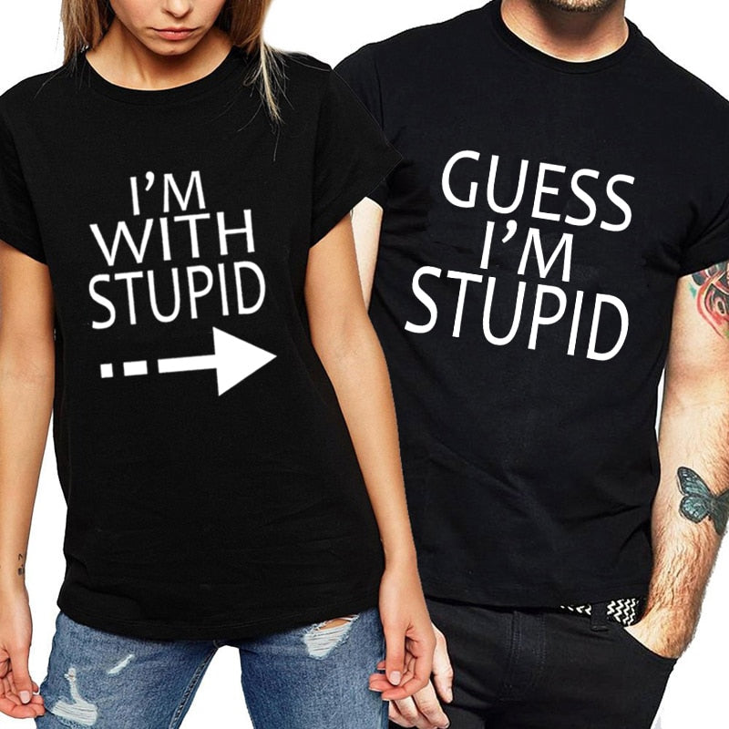 e78108fc The Matching Couple I'm With Stupid Funny Couple Shirts - The ...