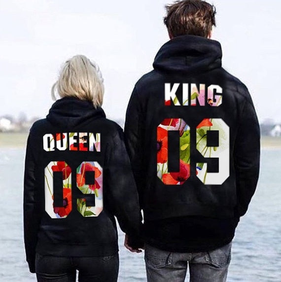 a9a9f1a3eab The Matching Couple King   Queen 09 Floral Hoodies - The Matching ...