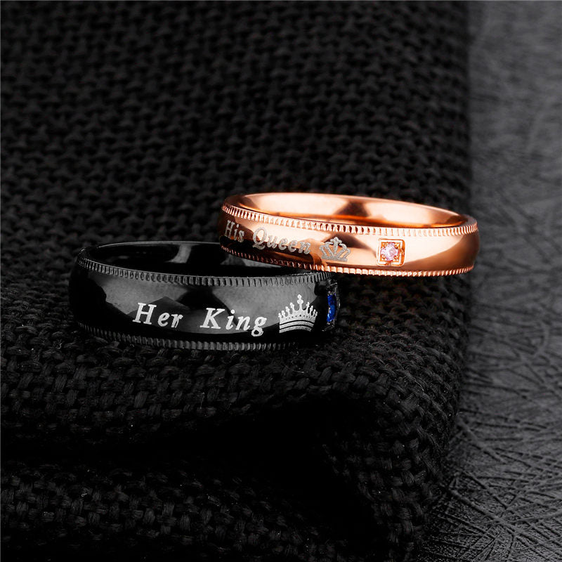 dd6243c0ab The Matching Couple Rings Her King His Queen Couple Promise Rings - Black &  Rose Gold