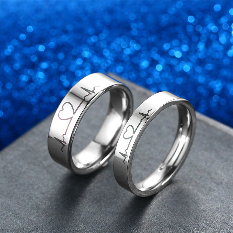 6dc6cc6488 Matching Couple Rings Heartbeat Stainless Steel Promise Rings - The ...