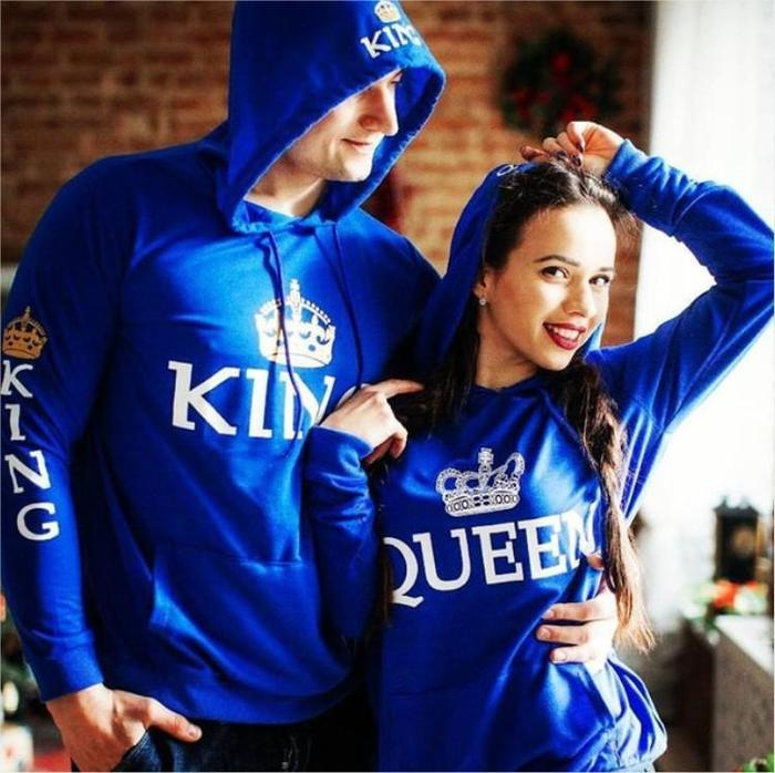 cde612d098 Matching Couple Hoodies King & Queen Matching Hoodies - Blue - The ...