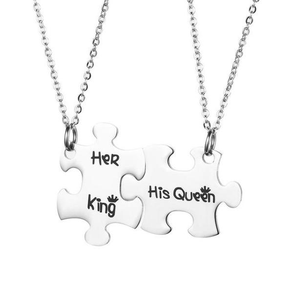 1ff2237763 The Matching Couple Necklaces Puzzle Her King His Queen Relationship  Necklace - Stainless Steel