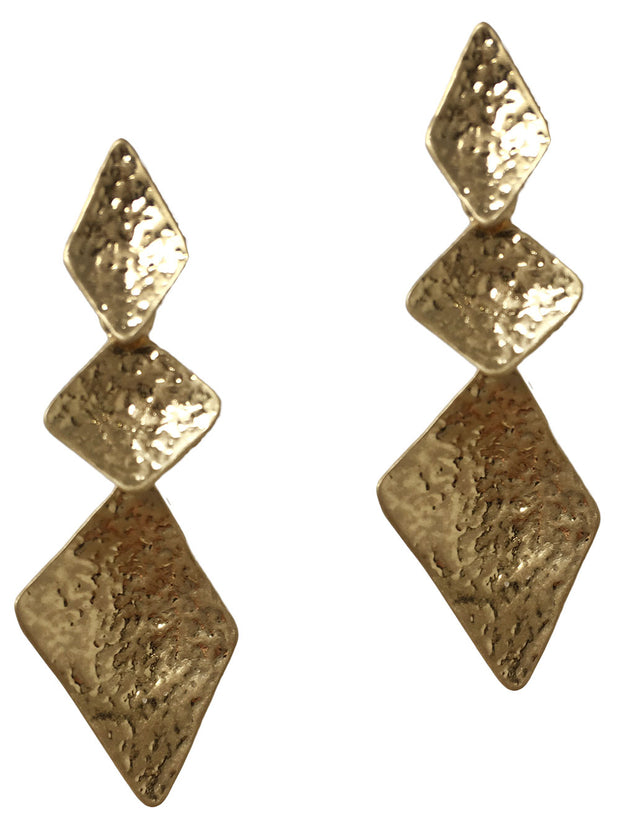 3 Parts Diamond Shape Textured Earring