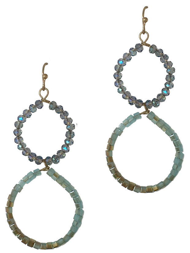 Double Beaded Circle Loop Dangle Earrings
