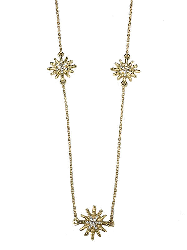 Starburst CZ Long Station Necklace