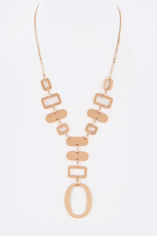 Brushed Metal Iconic Mix Shape Necklace