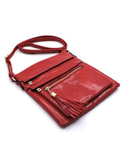 Glossy Multi Zip Pocket Crossbody Bag