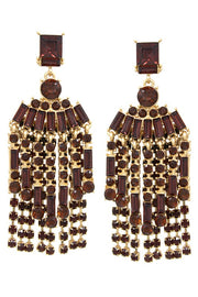 Glass Stone Pave Fringe Double Layer Drop Earrings