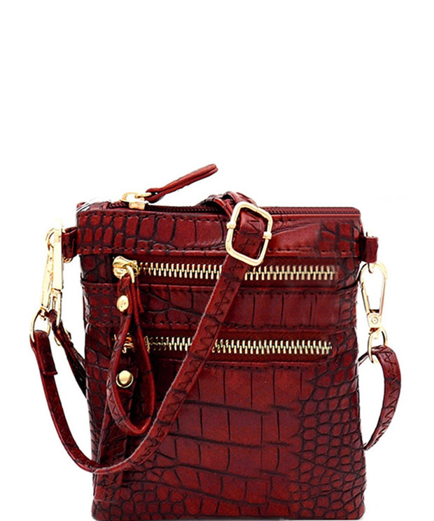 Crocodile Print Crossbody / Wristlet