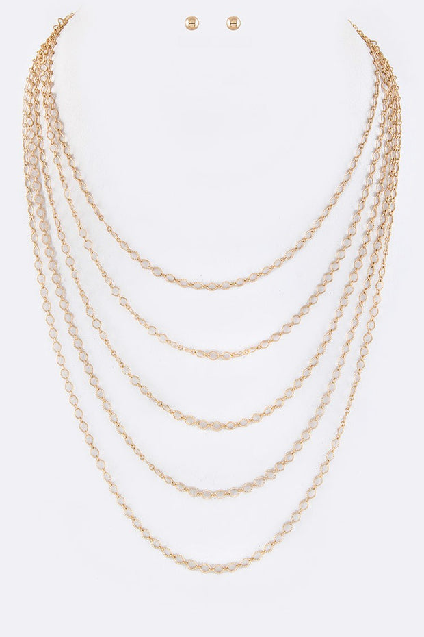 5 Layered Chains Necklace Set