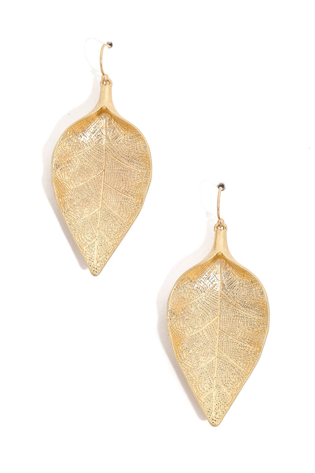 Metallic Leaf Drop Earrings