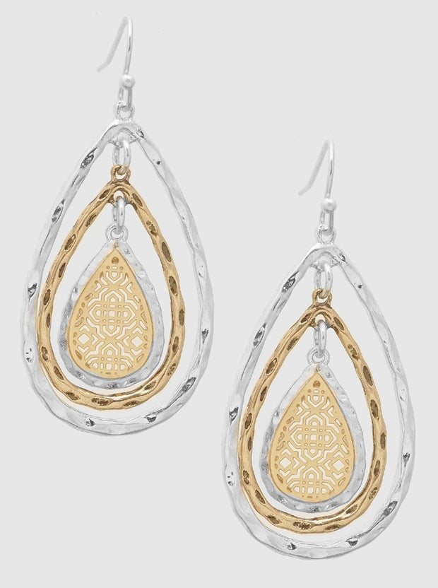 Two Tone Hammered Metal Ornate Filigree Design Cast Earring