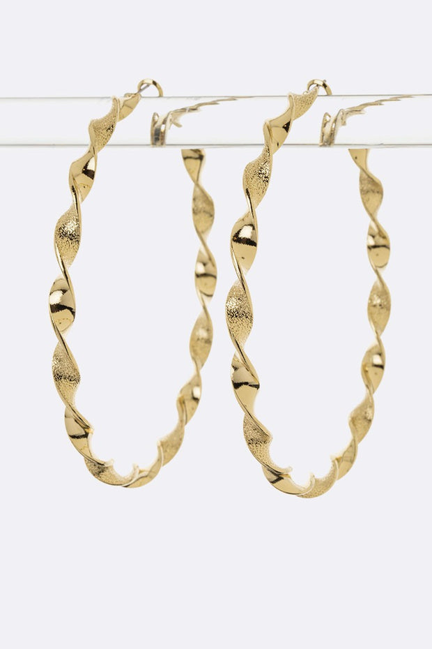 Twisted Metal Hoop Earrings Large