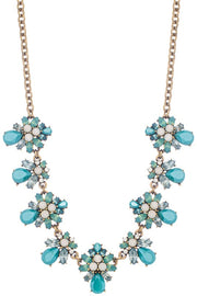 Teardrop Cluster Flower Statement Necklace