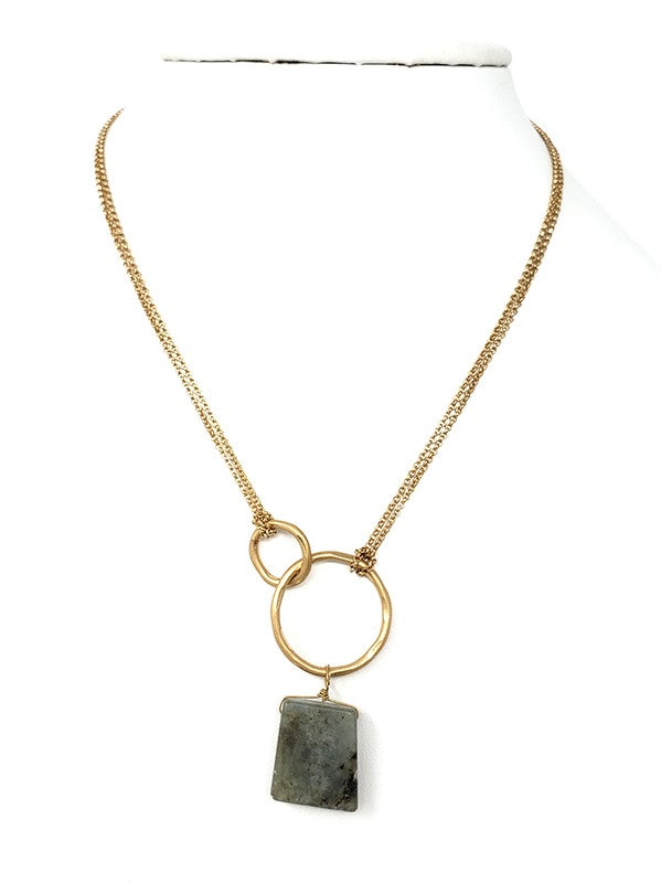 Metal Ring Natural Stone Pendant Necklace