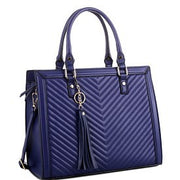 Chevron Quilted 2-Way Structured Satchel With Tassel