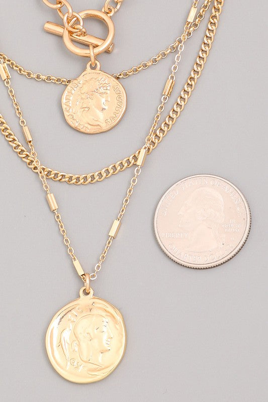 Renaissance Coin Layered Toggle Necklace