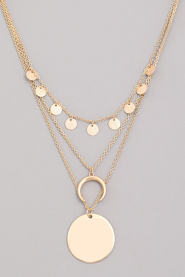 Horn Charm & Disc Layered Necklace