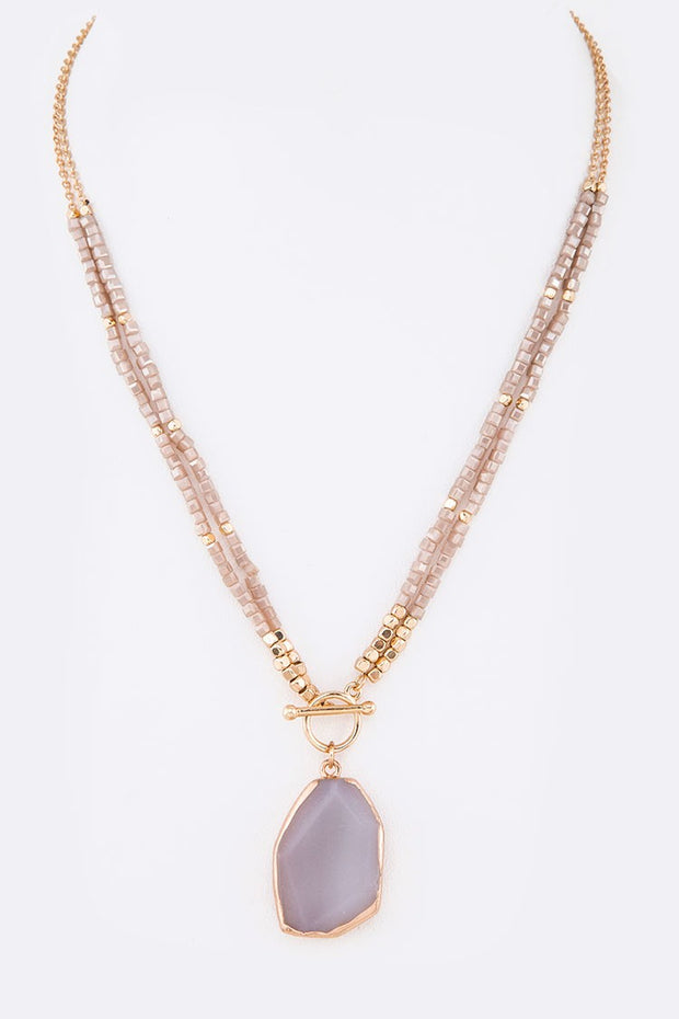 Stone Drop Convertible Pendant Necklace