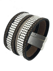 LEATHER DESIGN DOUBLE CHAIN LINK MAGNETIC BRACELET