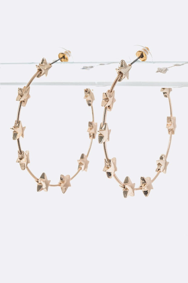 Star Decorated Open Hoop Earrings