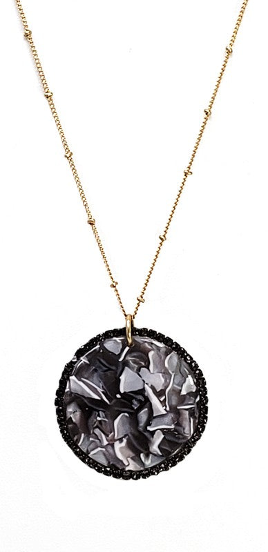Glass Stone Resin Pendant Chain Necklace