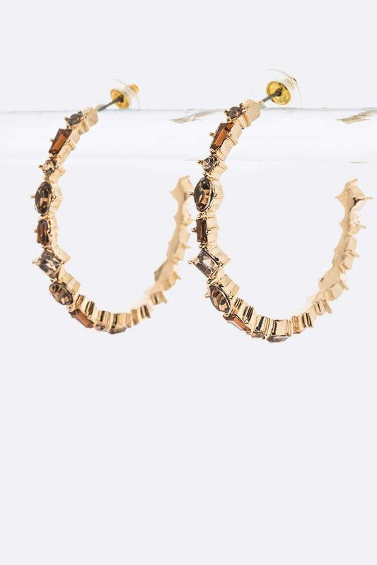 Mix Crystal Statement Hoop Earrings