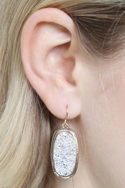 Oval Druzy Dangle Earring