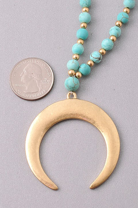 SEMI PRECIOUS STONE WITH MOROCCAN DESIGN OR HORN PENDENT