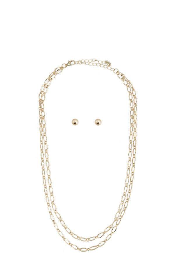 Linked Texture Chain Necklace
