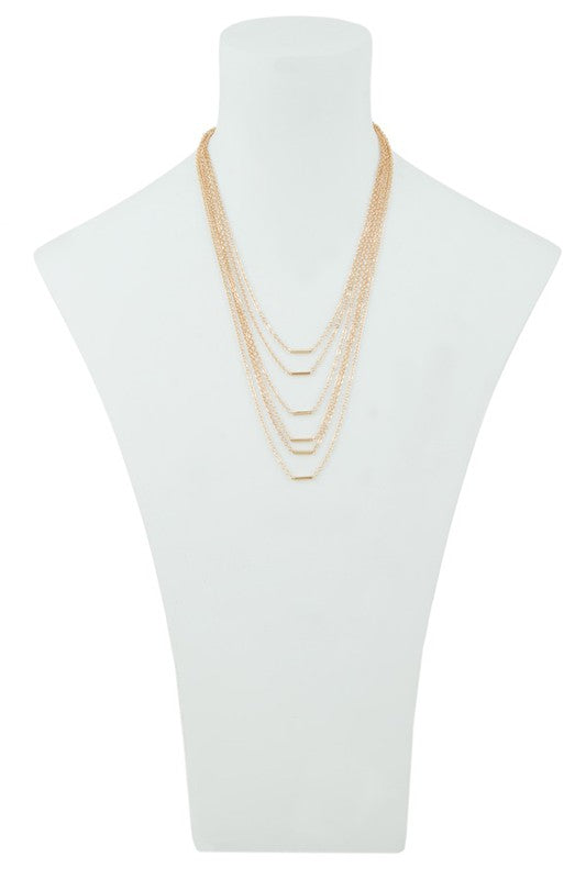 Five Chain Layer with Metal Bars Necklace