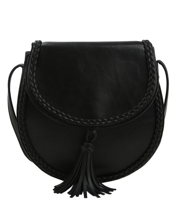 Tassel Accent Braided Cross Body Saddle Bag