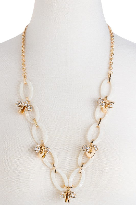 Marbled Chain Links With Rhinestone Clusters & Geo Charms Necklace