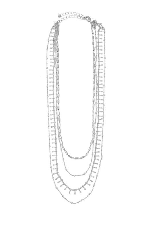 Chain Layered Necklace with Charm