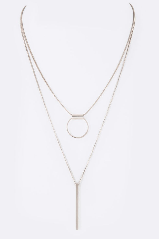 Hoop & Bar Pendant Layered Necklace