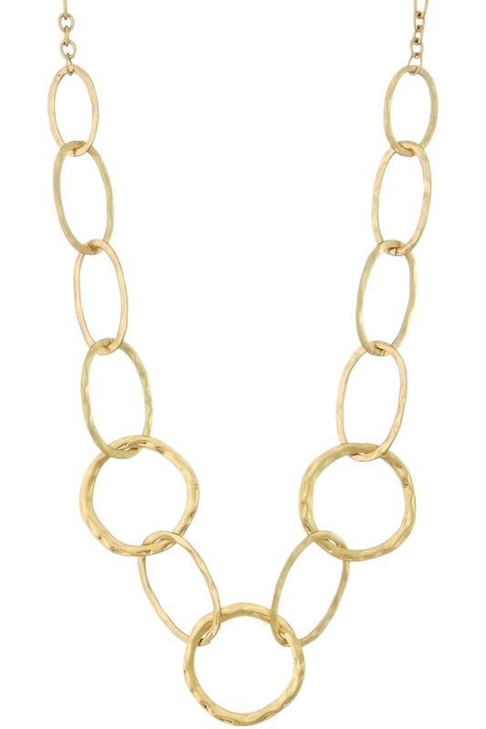 Circle And Oval Hammered Link Necklace