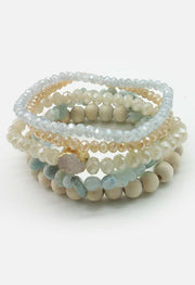 5 Layer Natural Stone With Crystal Beads Bracelet