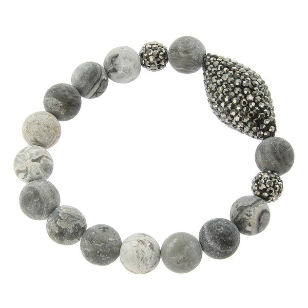 Natural Stone Bracelet With Pave Stone Accent