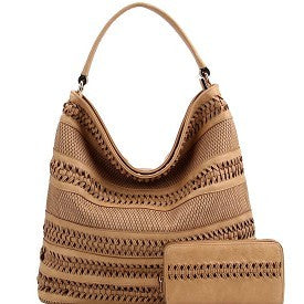 Braid Accent Weaved Laser Cut Hobo & Wallet SET