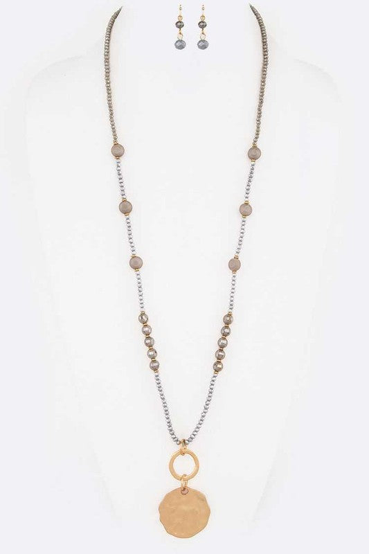 Beaded Long Necklace With Metal Pendant