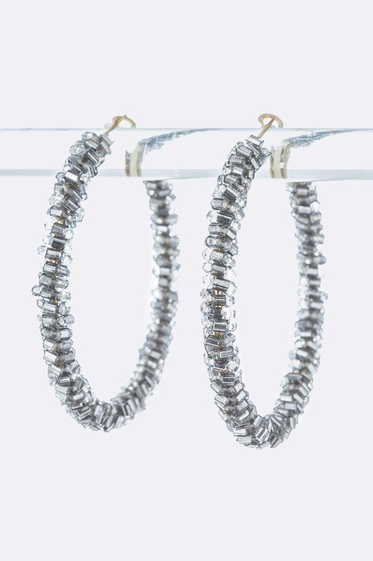Beaded Twist Hoop Earrings