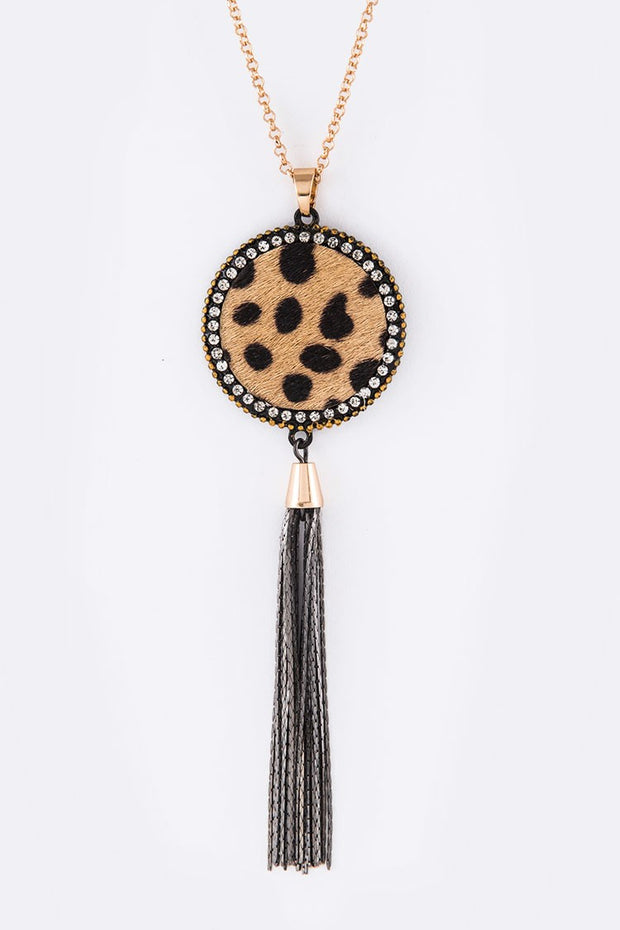 Calf Leather Pendant Tassel Long Necklace Set