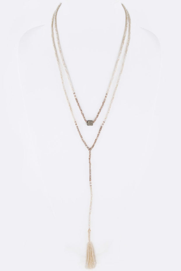 Crystal Pre-Layer Stone Charm Tassel Long Necklace