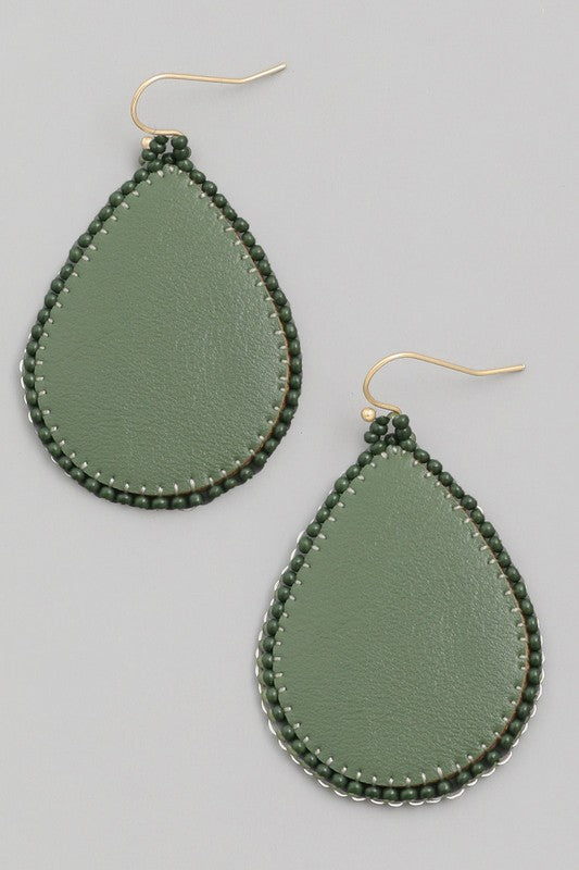 Faux Leather Teardrop Earrings
