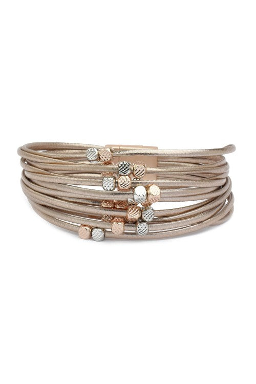Multi Strand Leather Magnetic Bracelet with Moveable Beads