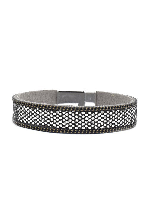 Skinny Leather Magnetic Bracelet with Crystals