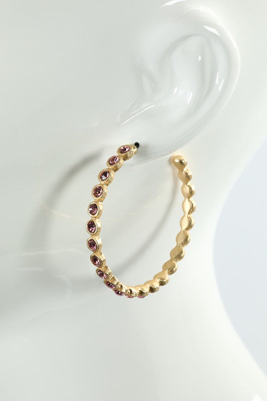 Colored Stone Hoop Earrings