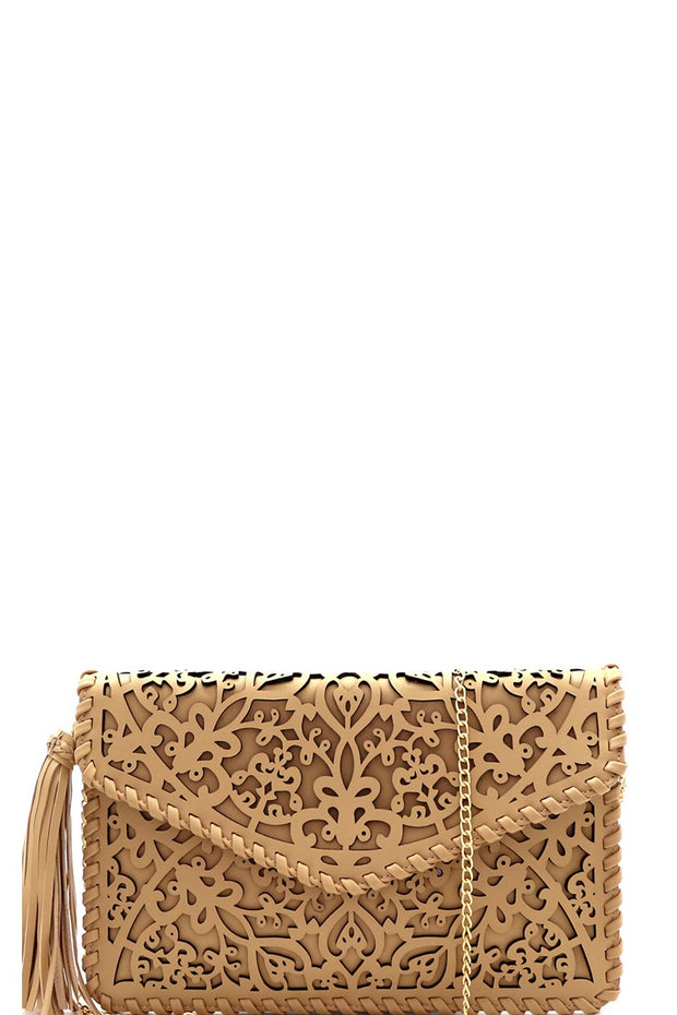 Whipstitched Laser-Cut Envelope Clutch With Tassel Accent
