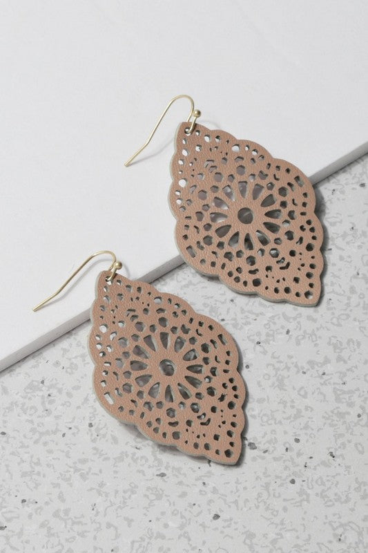 Laser Cut Leather Leaf Shape Drop Earrings